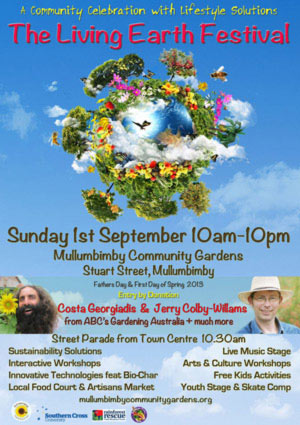 Come to the Mullumbimby Living Earth festival on Sept 1st